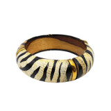 Haji Tiger Stripes Horn and Wood Bangle