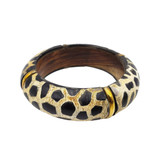 Bahati Leopard Print Horn and Wood Bangle