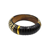 Lulu Snake Scales Horn and Wood Bangle