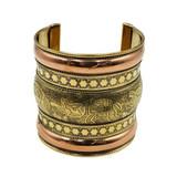 Zalena Ornate Brass Cuff Gold Ethnic Cuff Bracelet