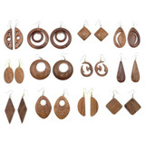 Quanesia Carved Wooden Earrings - Assorted Set of 12