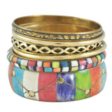 Laila Multicolor Bone and Brass Bangle - 6pc Set
