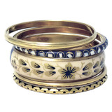 Keisha Elegant Metal Bangle Designed with Floral Pattern - 5pc Set
