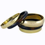 Kalinda Elegant Gold Brass and Resin Bangle Bracelet - 5pc Set