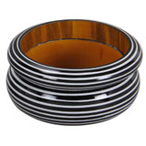 Retha Black & White Stripe Painted Wood Bangles - 2pc Set