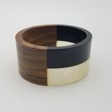 "Makena Wood and Resin Bangle - Black & White 11/2"""
