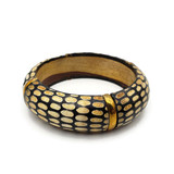 Alheri Buffalo Horn Snake Skin Design Bangle 1""