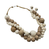 Bubble Wooden Necklace and Earring Set
