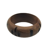 Natural Wood Bangle Carved With Horn Inlay