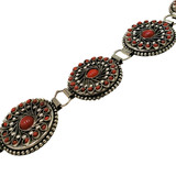 Vara Brass Metal Hip Belt with Red Glass Beads and Wire Work