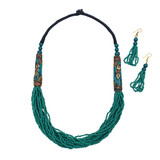 Seed Bead African Necklace Set in Teal Color