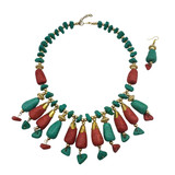 Anaki Clay Bead Necklace Earring Set - Turquoise and Coral Tone Beads
