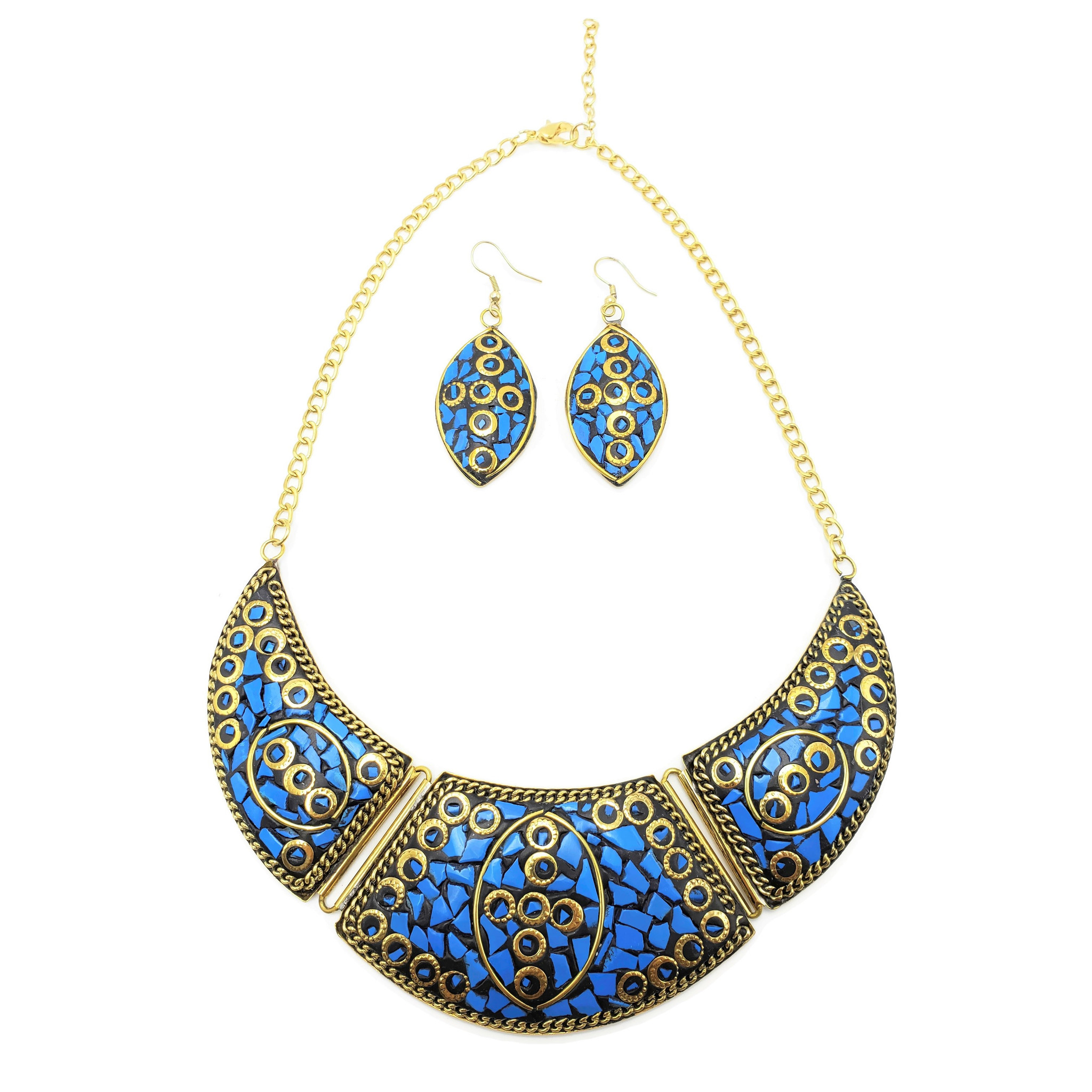 Terracotta Mosaic Crescent Necklace Set