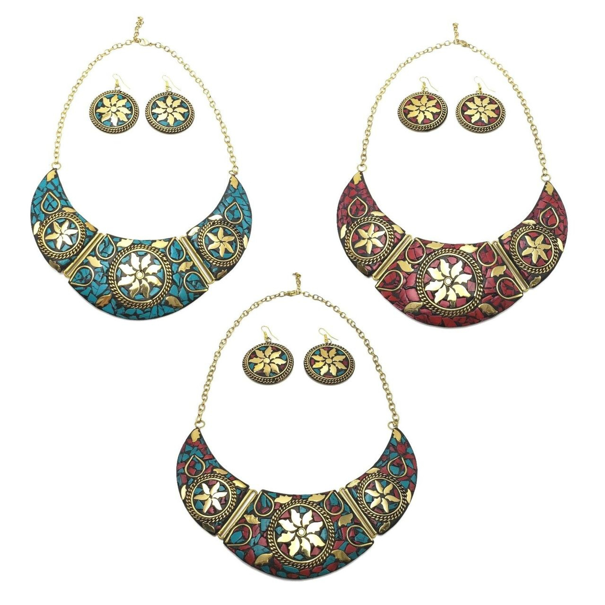 Bajalia Jewelry Tibetan Solid Brass Bib Collar Coral Turquoise Necklace Lot