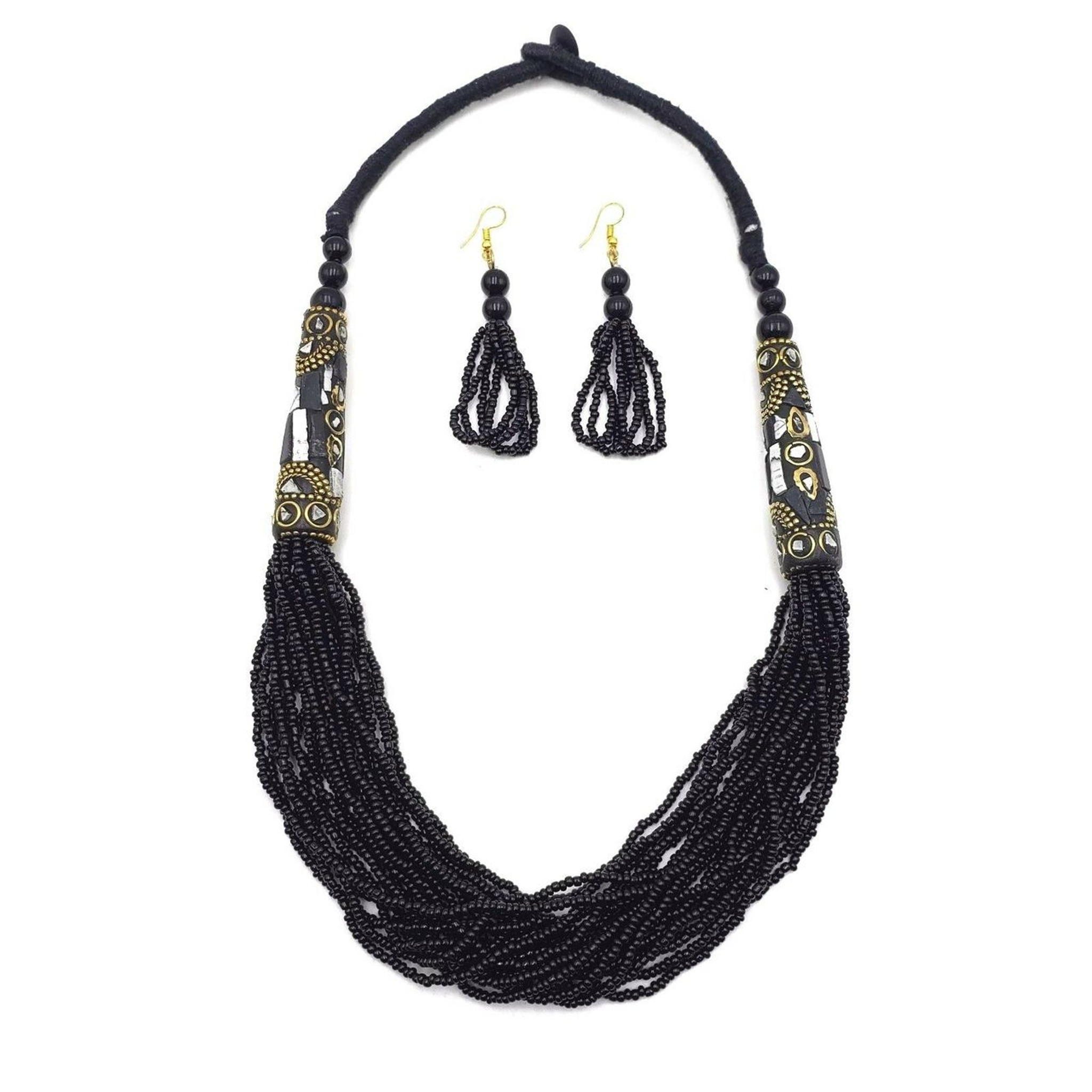 Baji Multi Strand Seed Bead Necklace with Mosaic Brass Charms