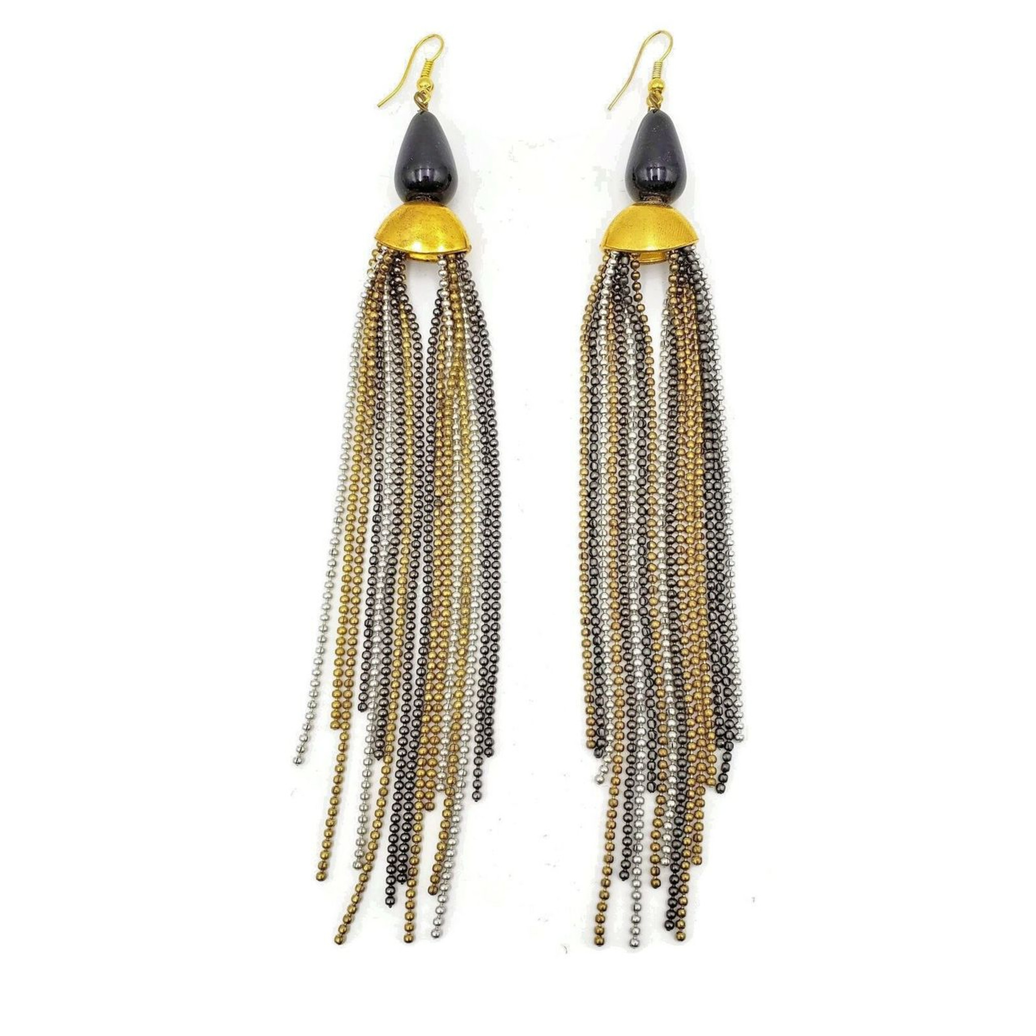 Amrita Three Tone Fringed Brass Metal Dangle Earrings