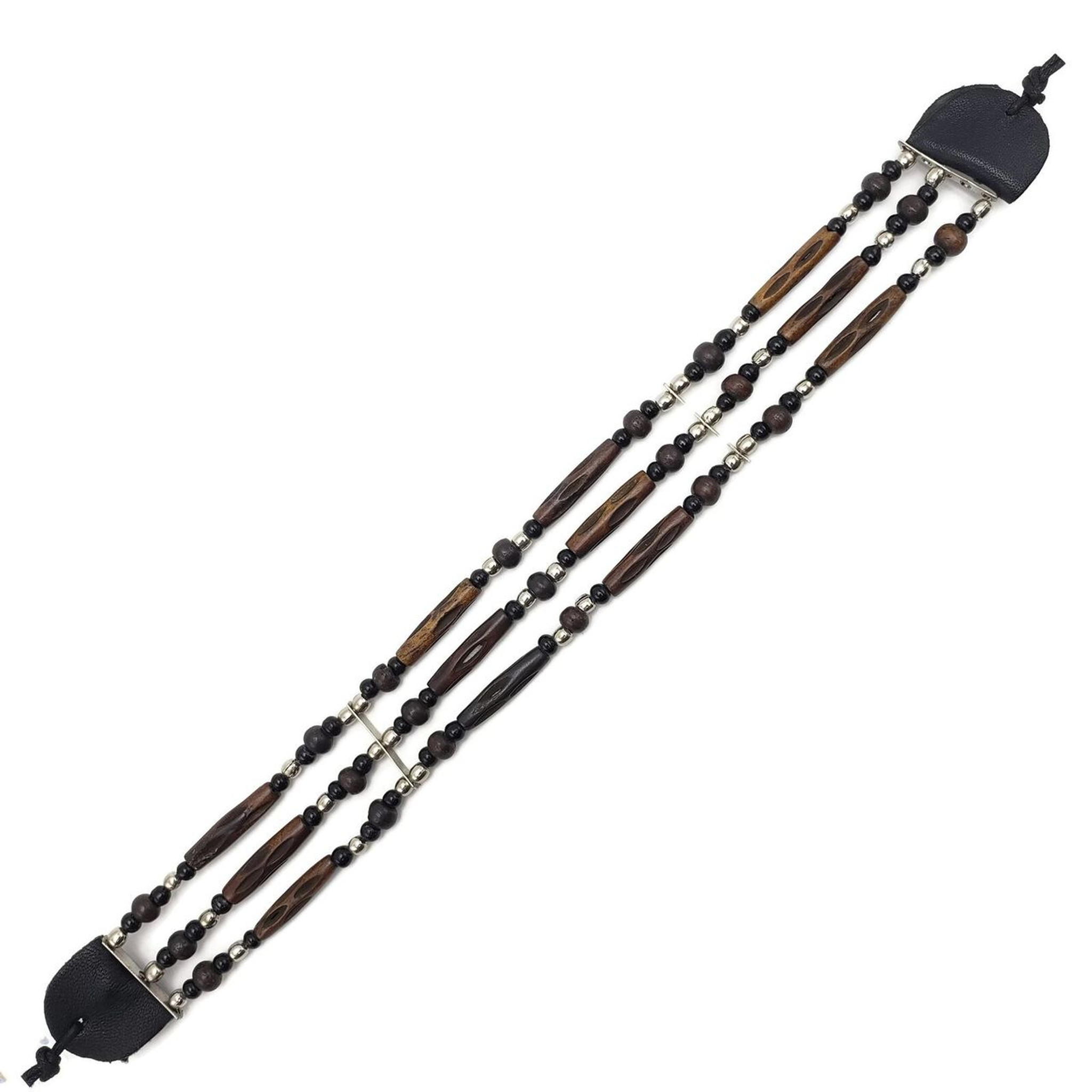 Buffalo Bone Choker Leather Binding Native American Jewelry Beads 3036-BRN