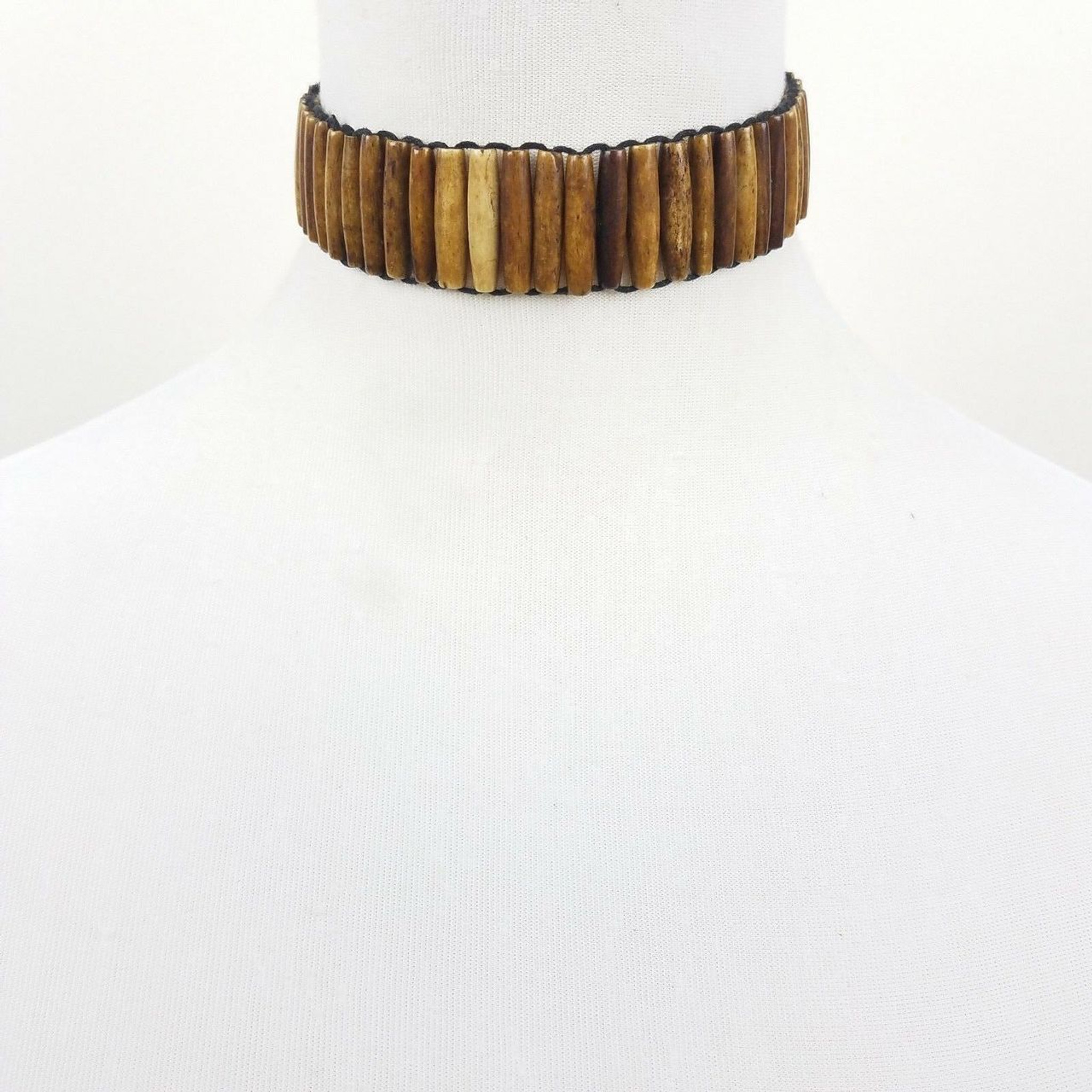 Buffalo Bone Choker Jewelry Necklace Plain Hair Pipe Bead Regalia Pow Wow Tribal