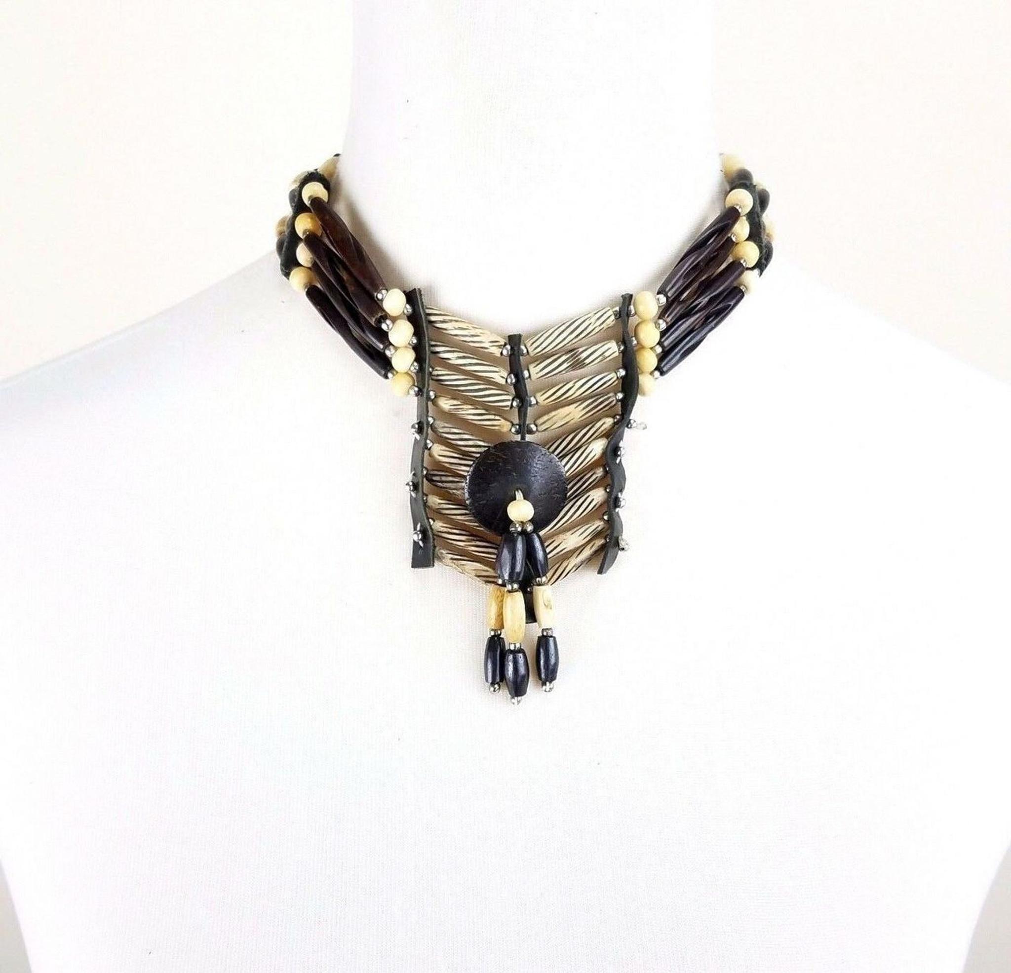 Buffalo Bone Choker Leather Beaded Chest Plate Tribal Native American Necklace