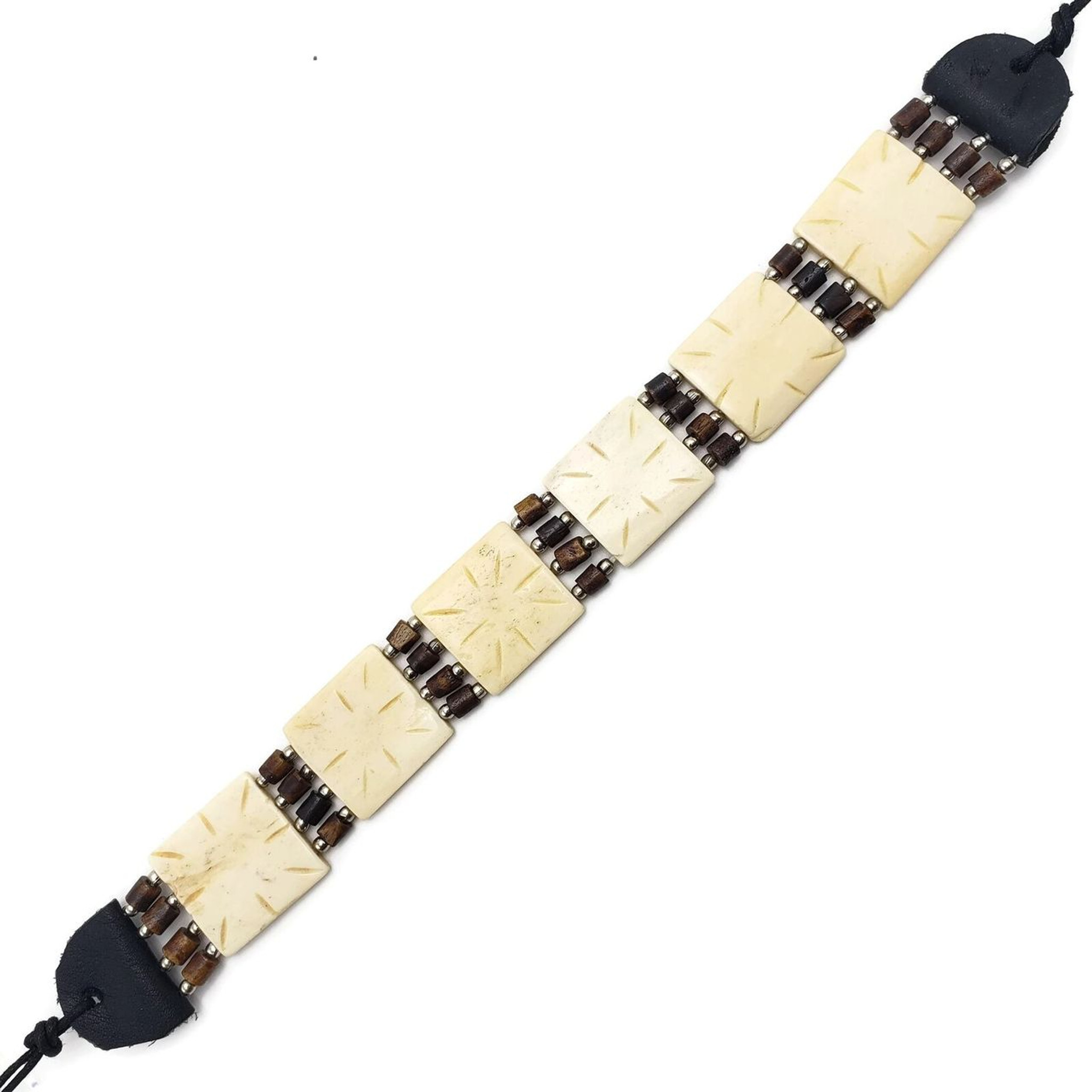 Buffalo Bone Choker Leather Binding Native American Jewelry Beads CK4453