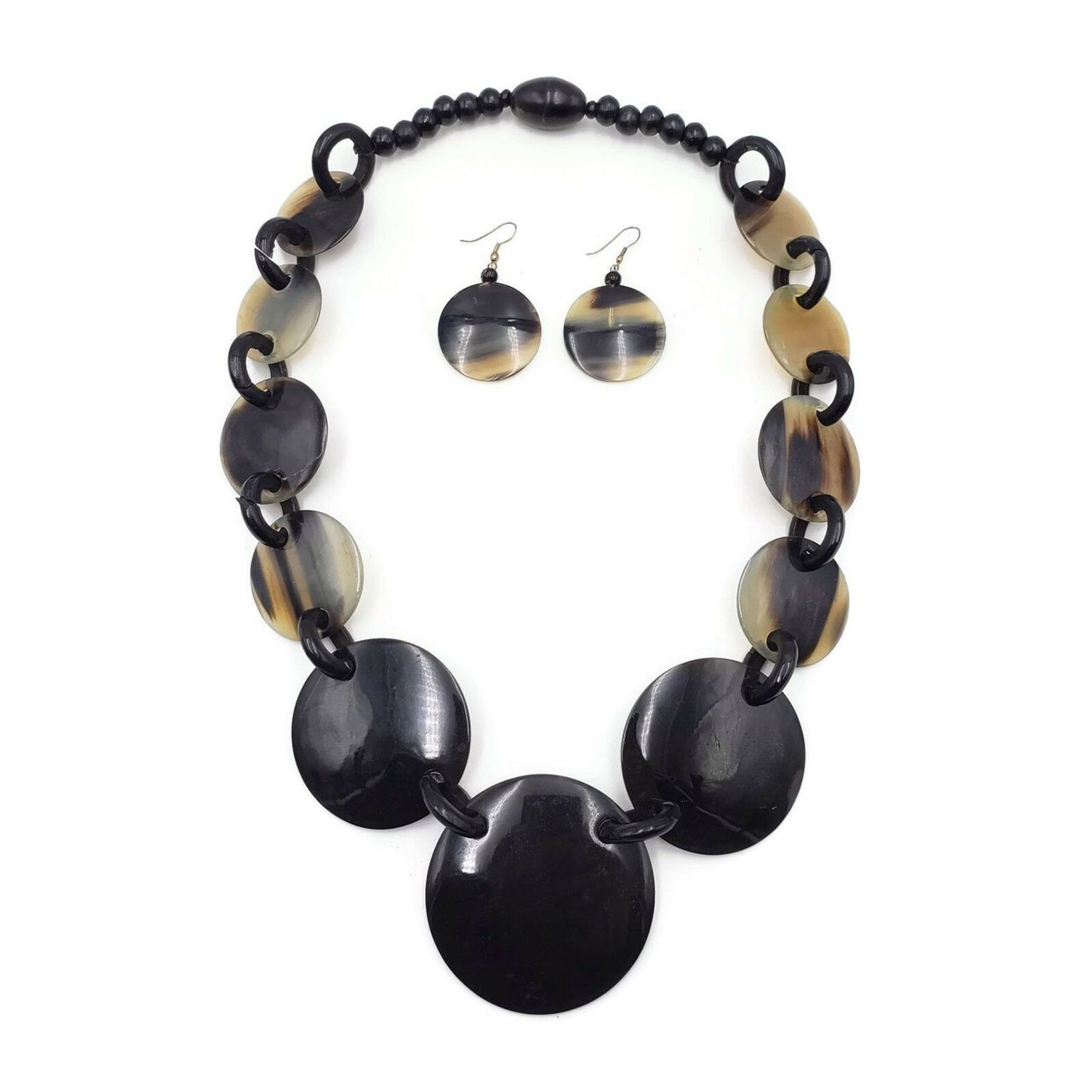 Horn Necklace and Bone Disks and Earrings