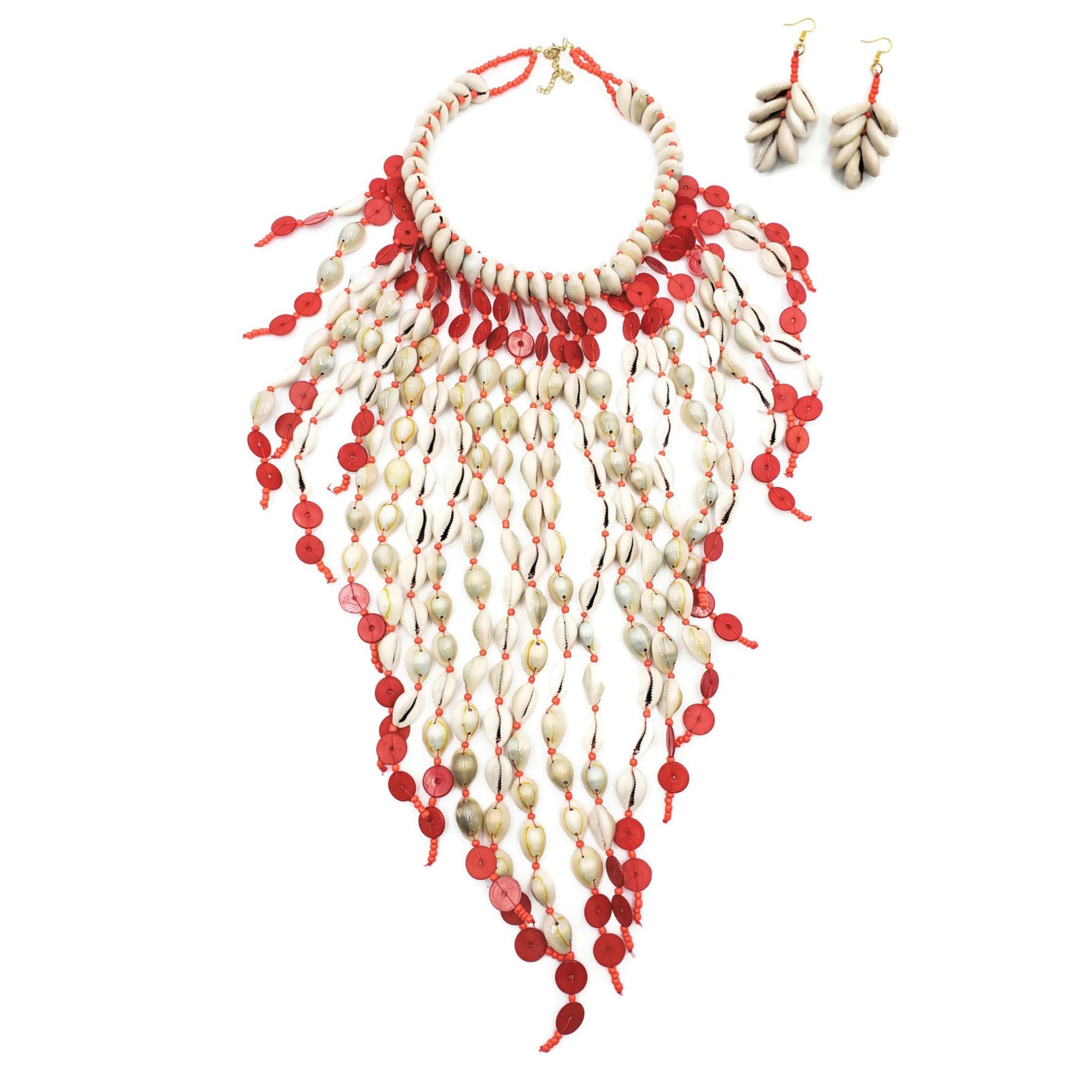 Lameya Cowrie Shell Bib Necklace Earrings Set