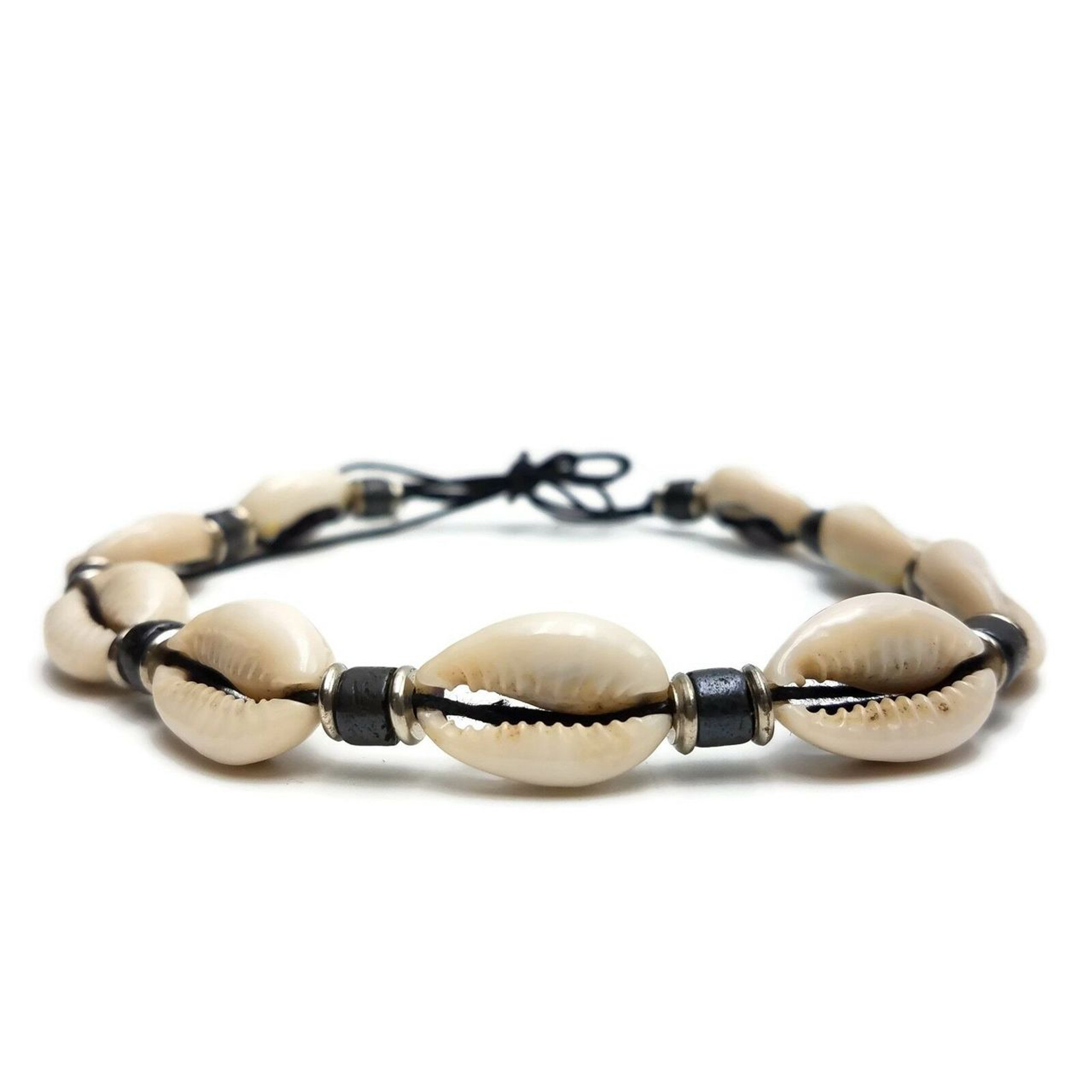 Nola Cowrie Shell Choker with Buffalo Bone and Brass Spacers | White