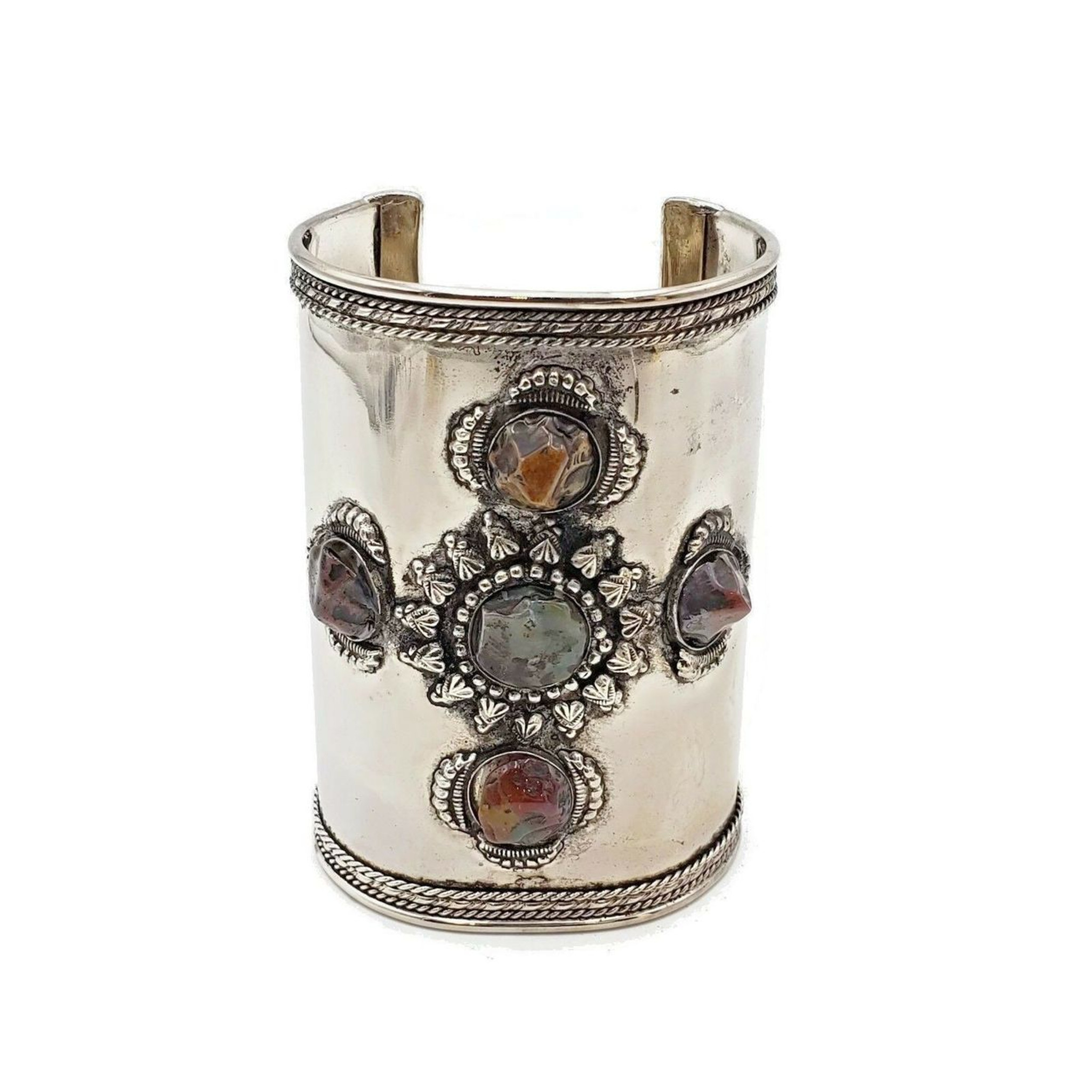 Cardinal Brass Cuff with Natural Agate Stones - 4""