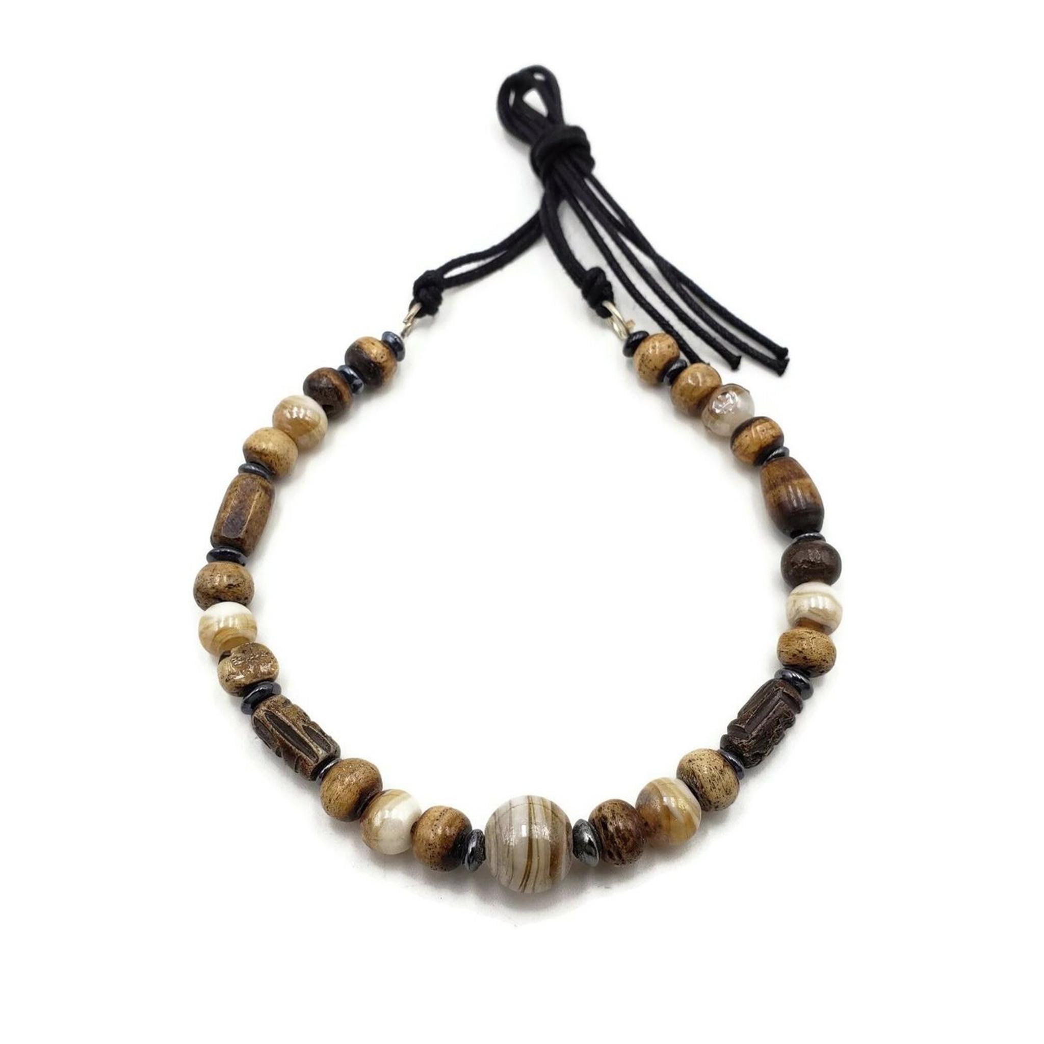 Sula Buffalo Bone Choker with Hair Pipe and Wood Beads