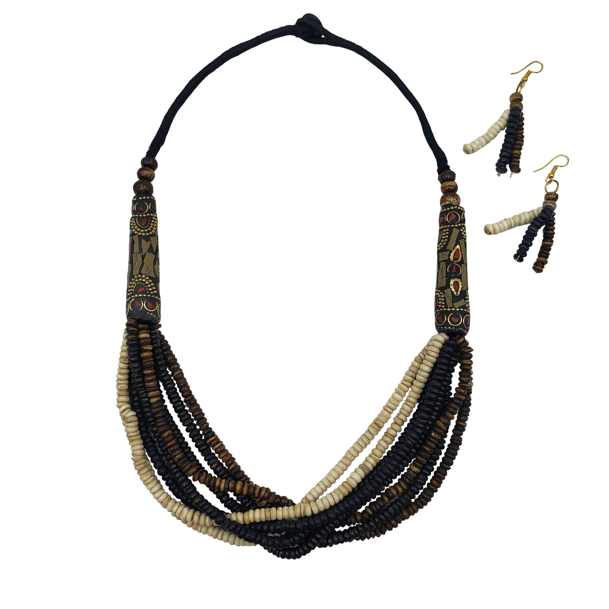 Tibeh Buffalo Bone Beads Multi Strand Necklace with Mosaic Chip Pendants