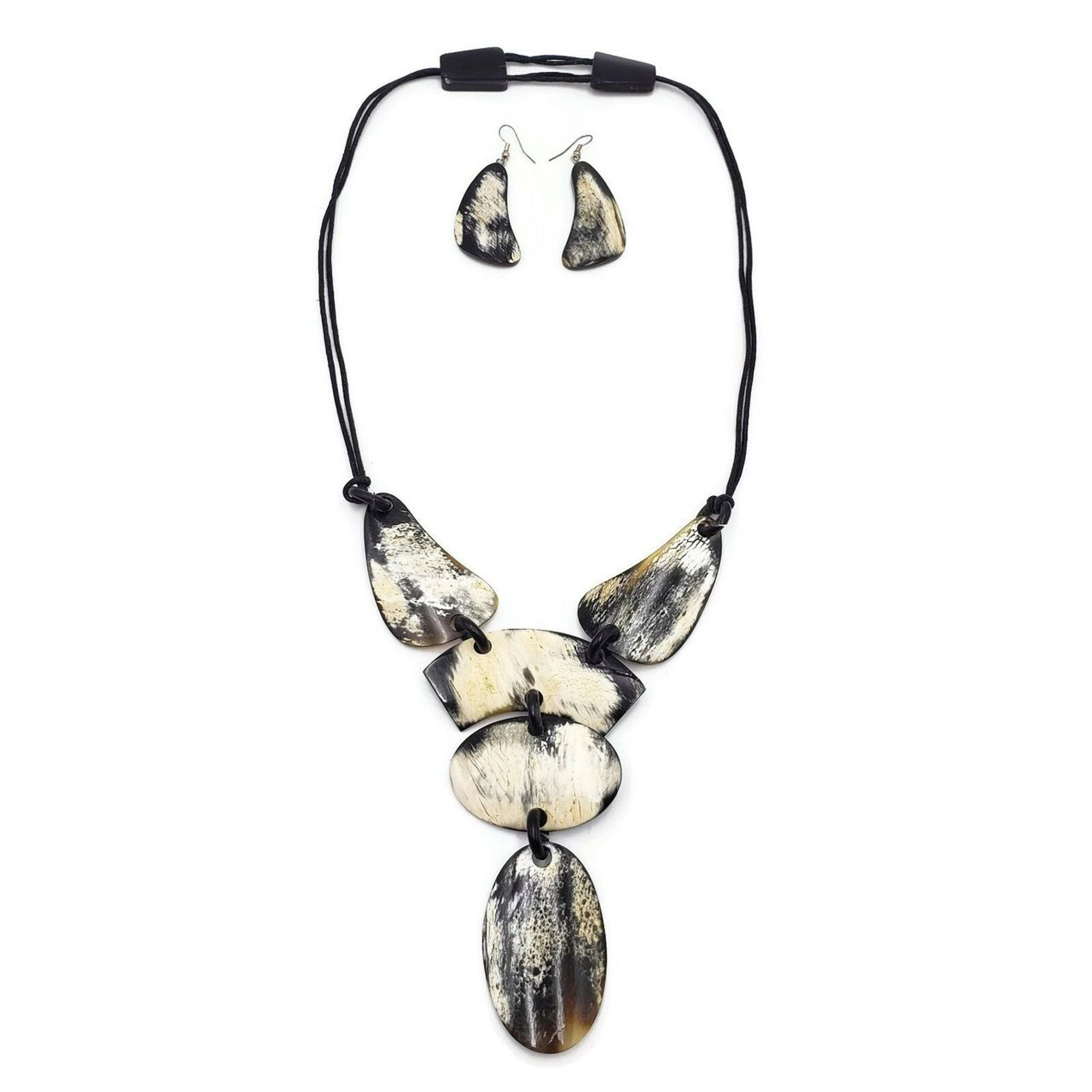 Buffalo Horn Necklace Y Necklace Genuine Horn Natural Jewelry Earring