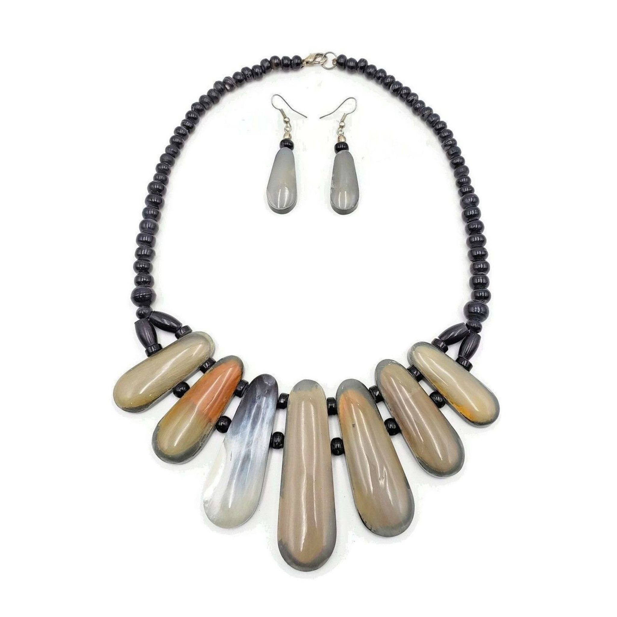 Zenia Fashionable Statement Bubble Bib Necklace and Matching Earrings