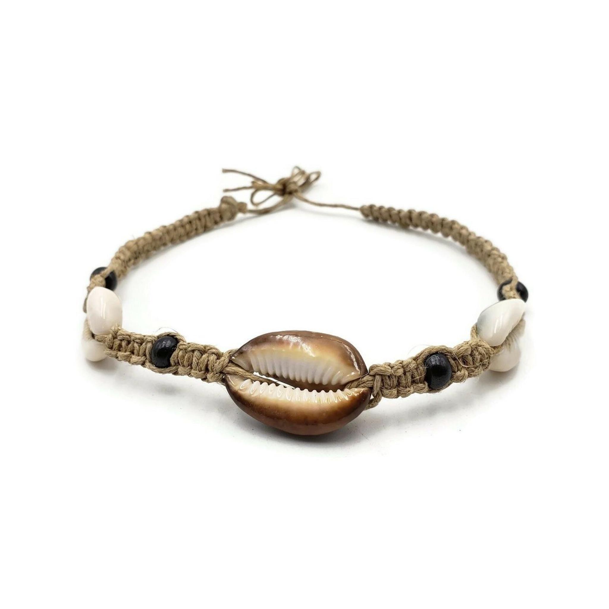 Luna Cowrie Shell Hemp Choker with Bone Beads