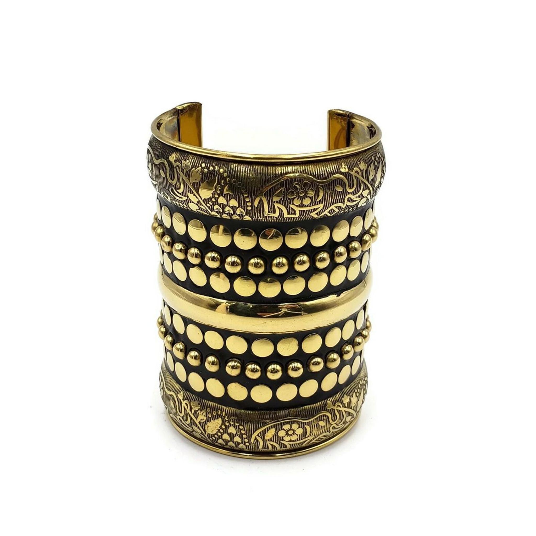 Esmeralda Ornate Brass Cuff in Gold and Antique Tone