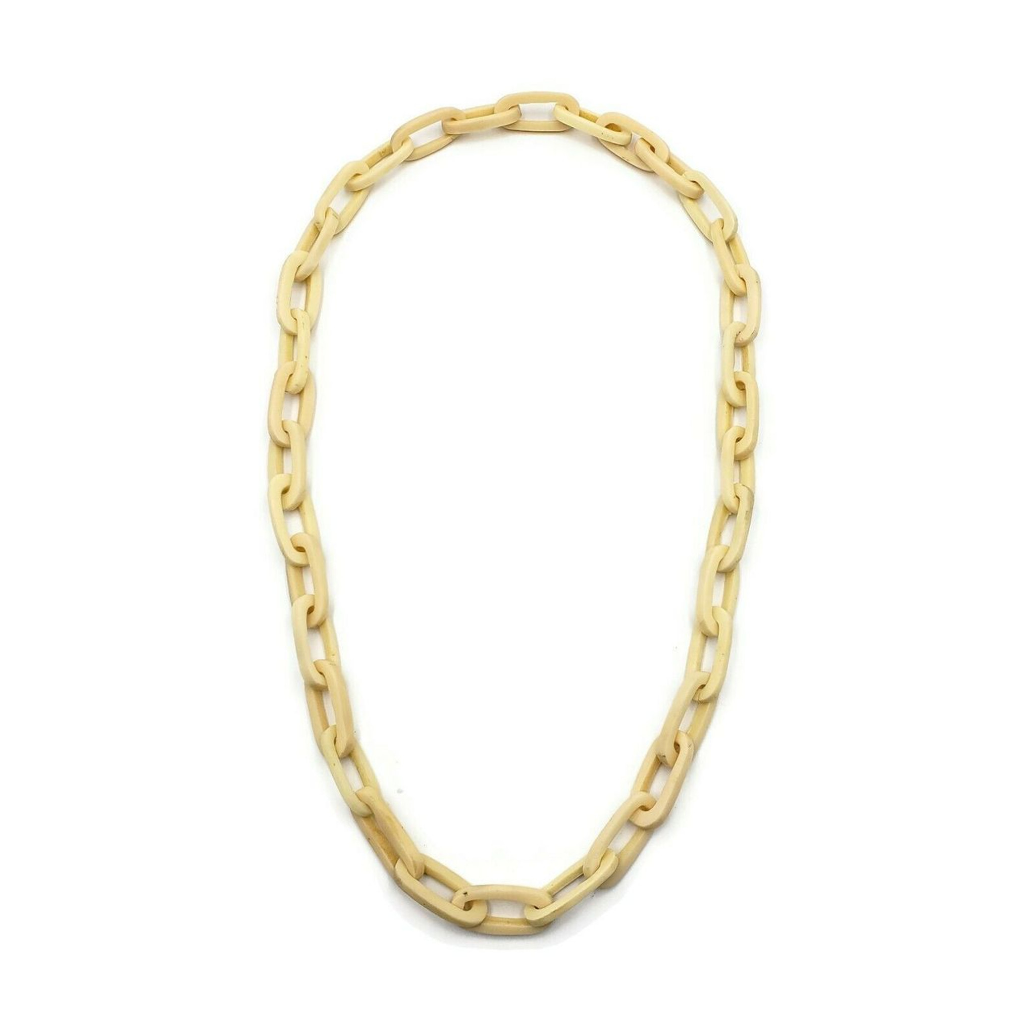 Abenna Off White Chain Resin Necklace
