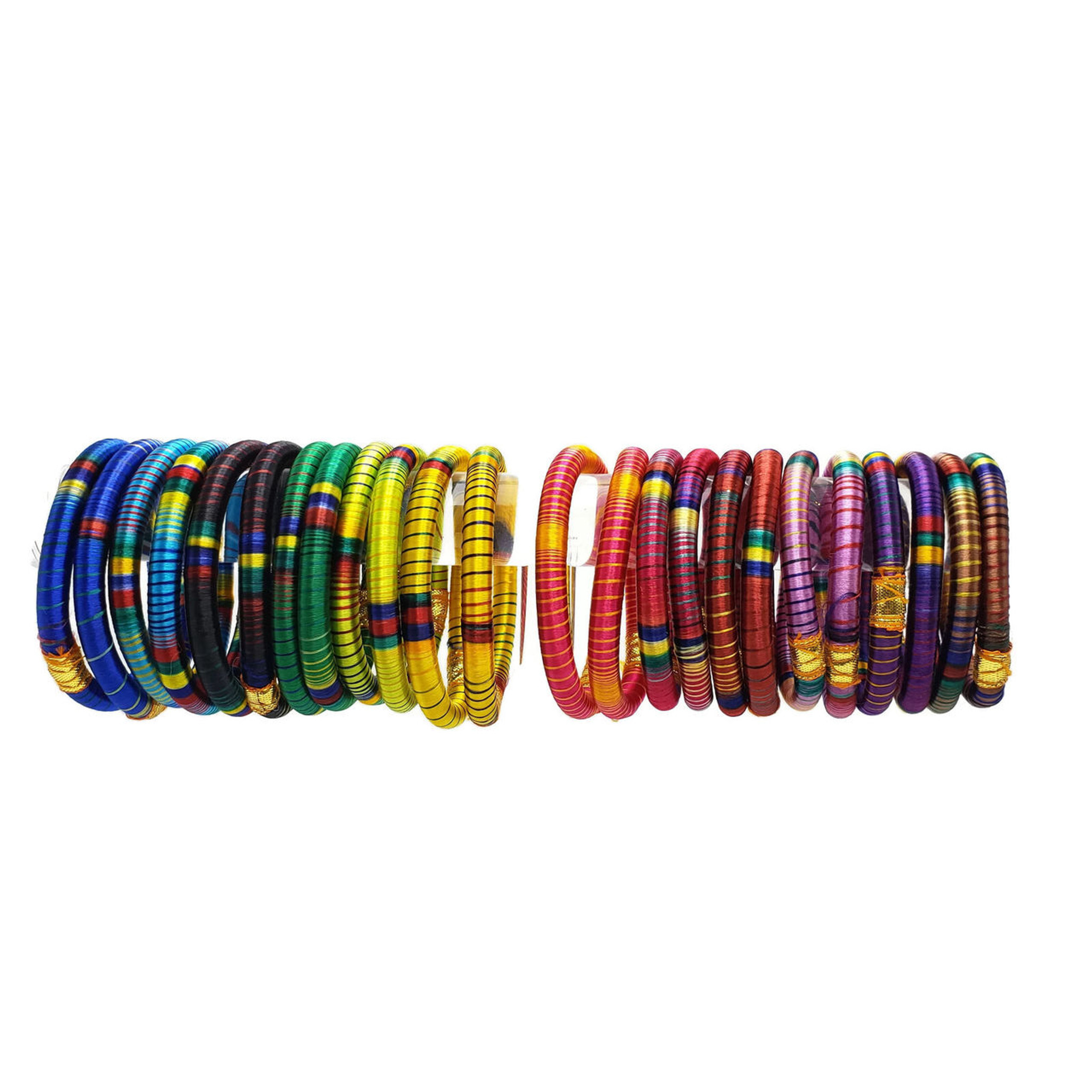 Bhavna Silk Threaded Bangles Set - Multi Color Set of 24