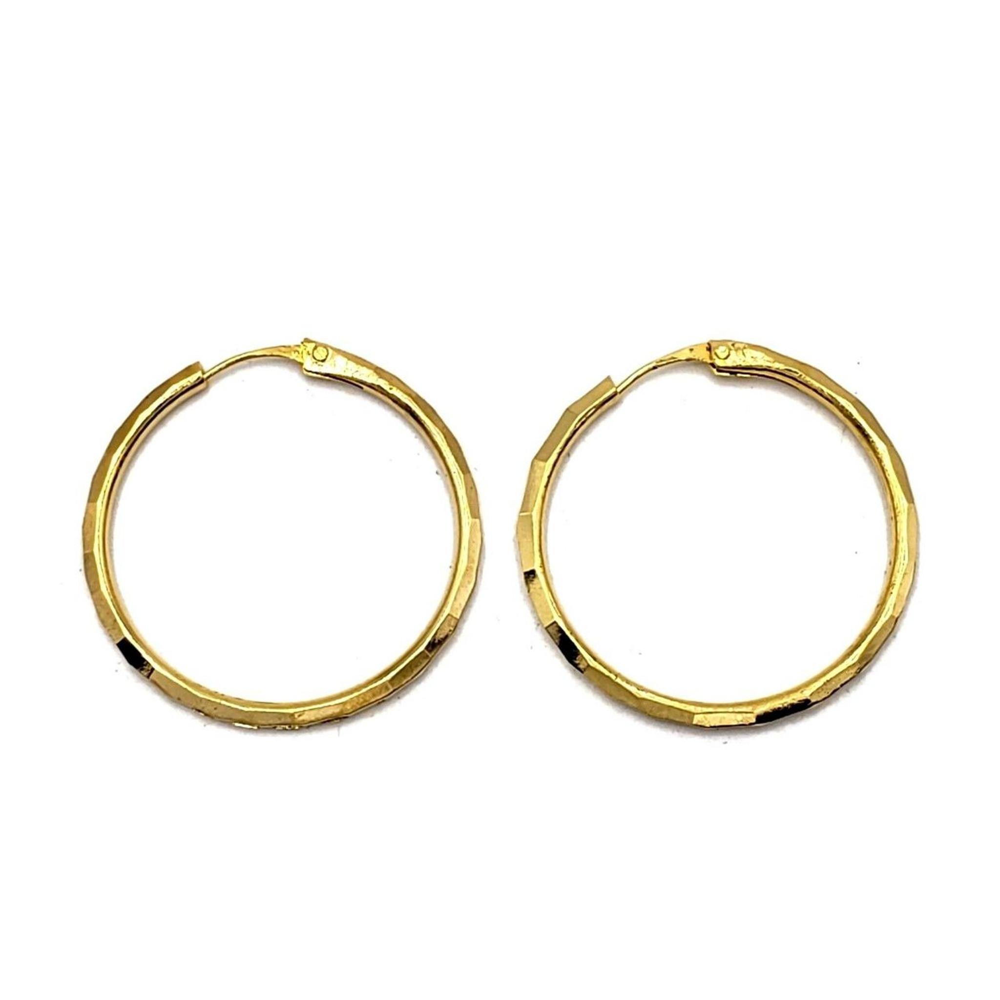 """Gold Plated Dangle Hoop Earrings - 1.1"""" / 1.3"""""""