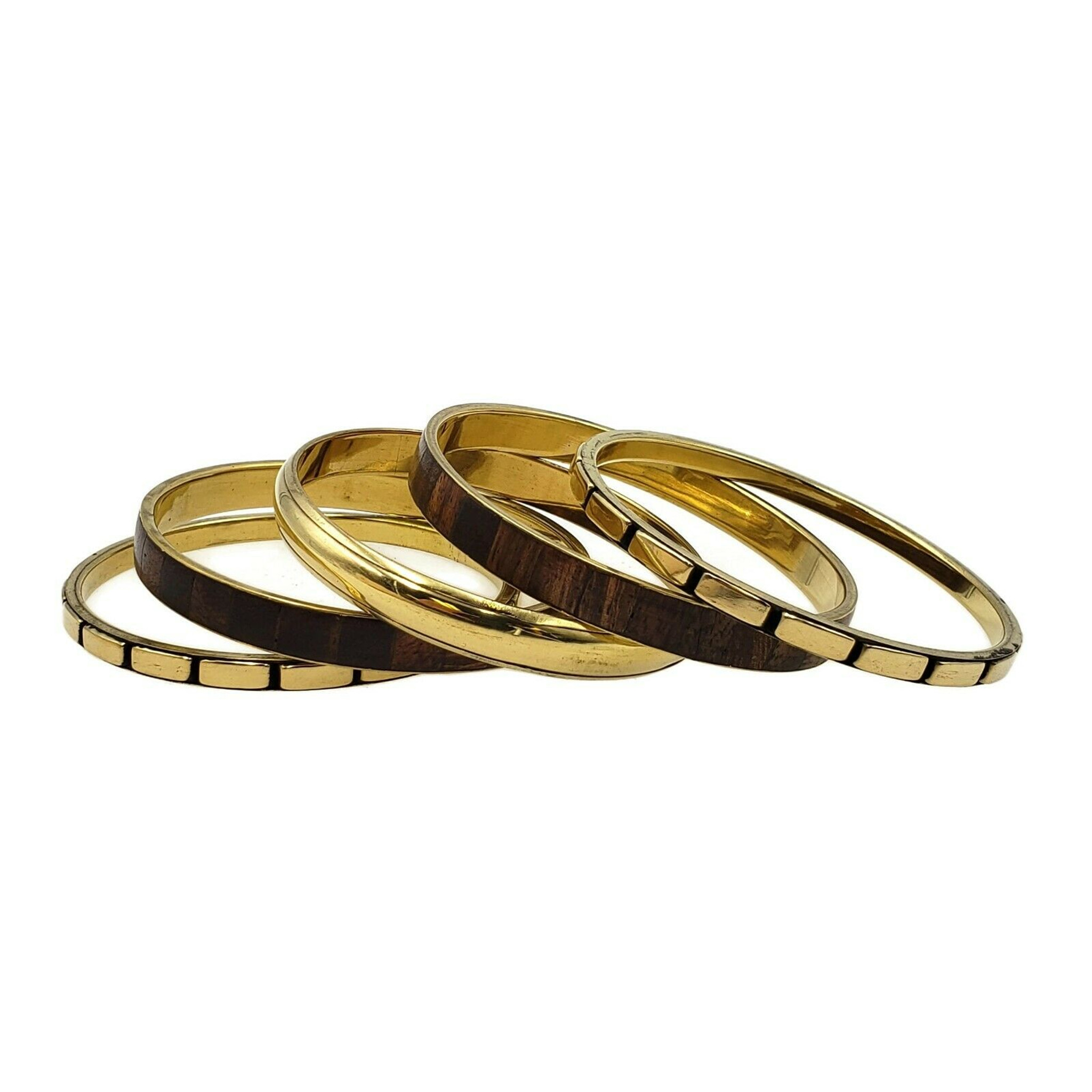 Classic Brass and Wood Bangle bracelet Set