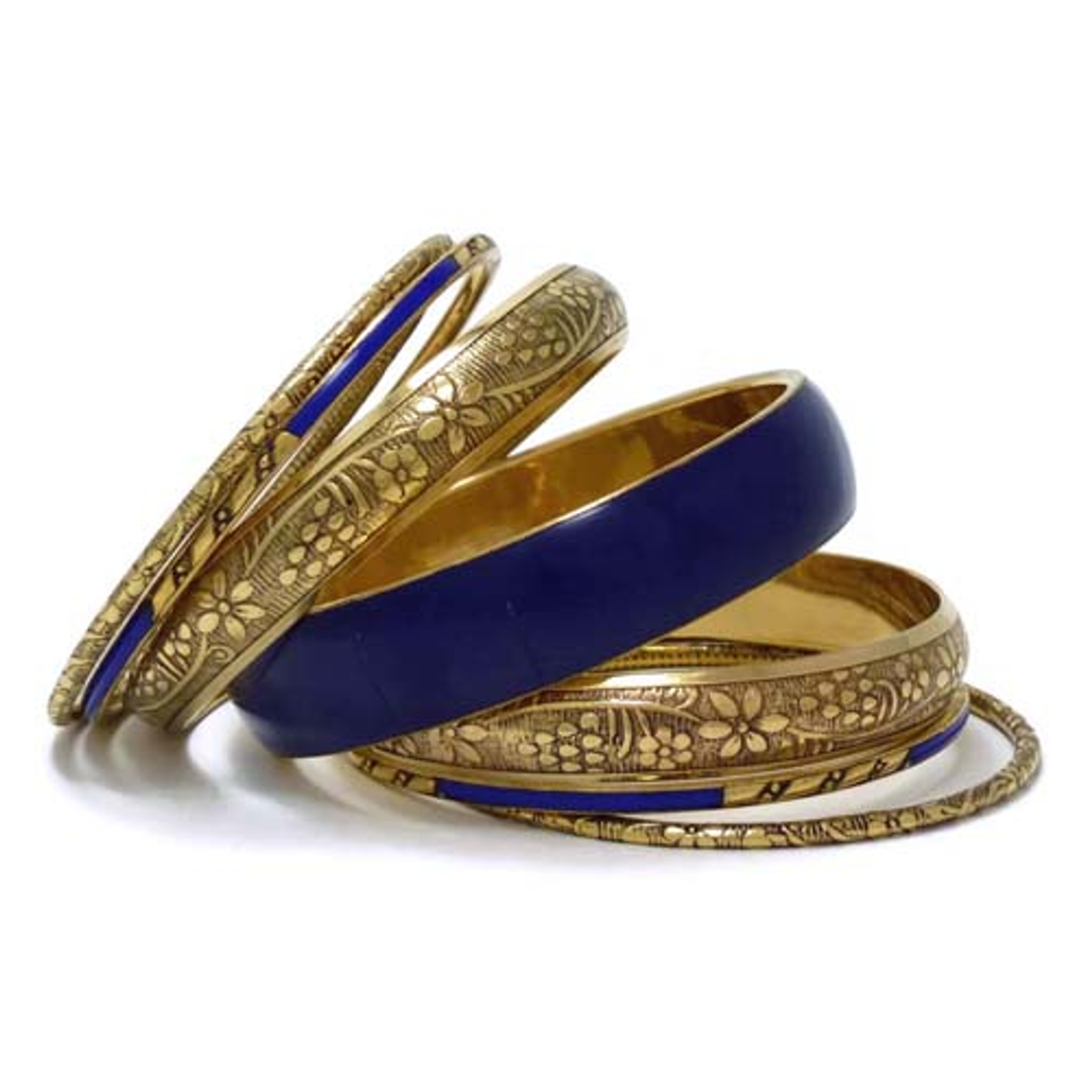 Brass Metal Bangle Set with Resin - Set of 7