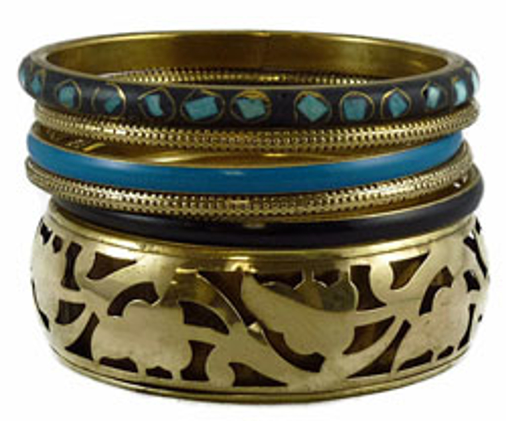 Brass Carved Bangle Bracelet Set