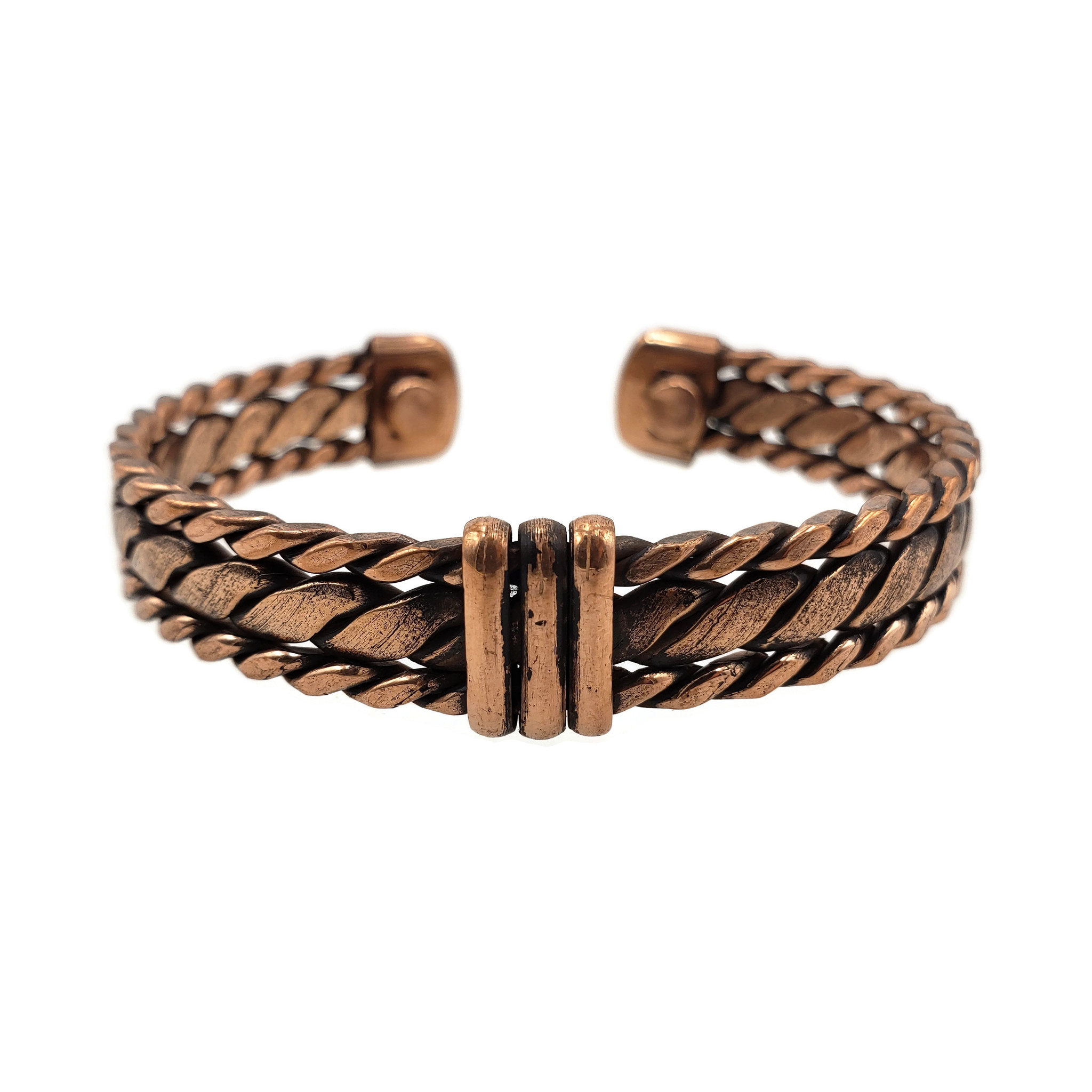 Three layer twisted copper cuff with magnets for energetic healing.