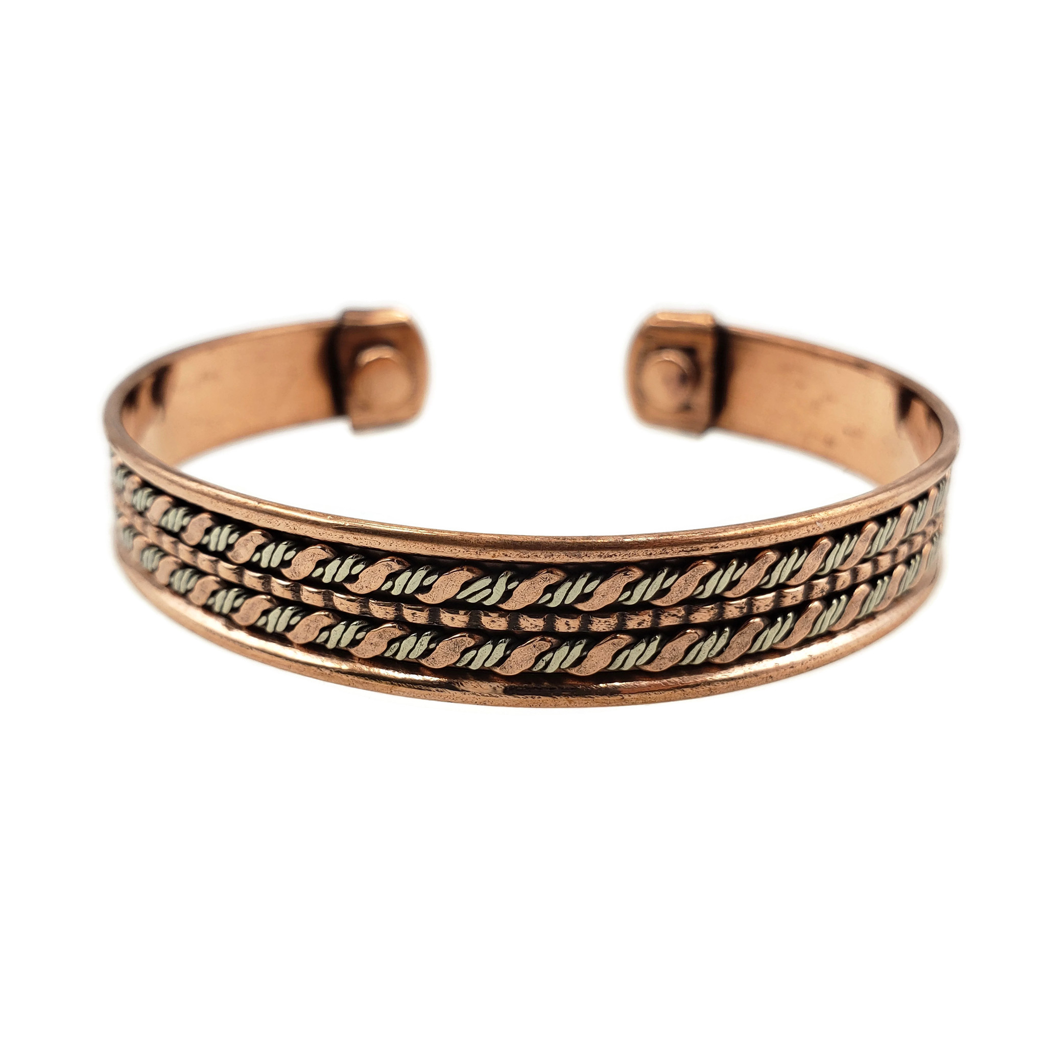 Kashvi Two Tone Copper Cuff with Twisted Carvings