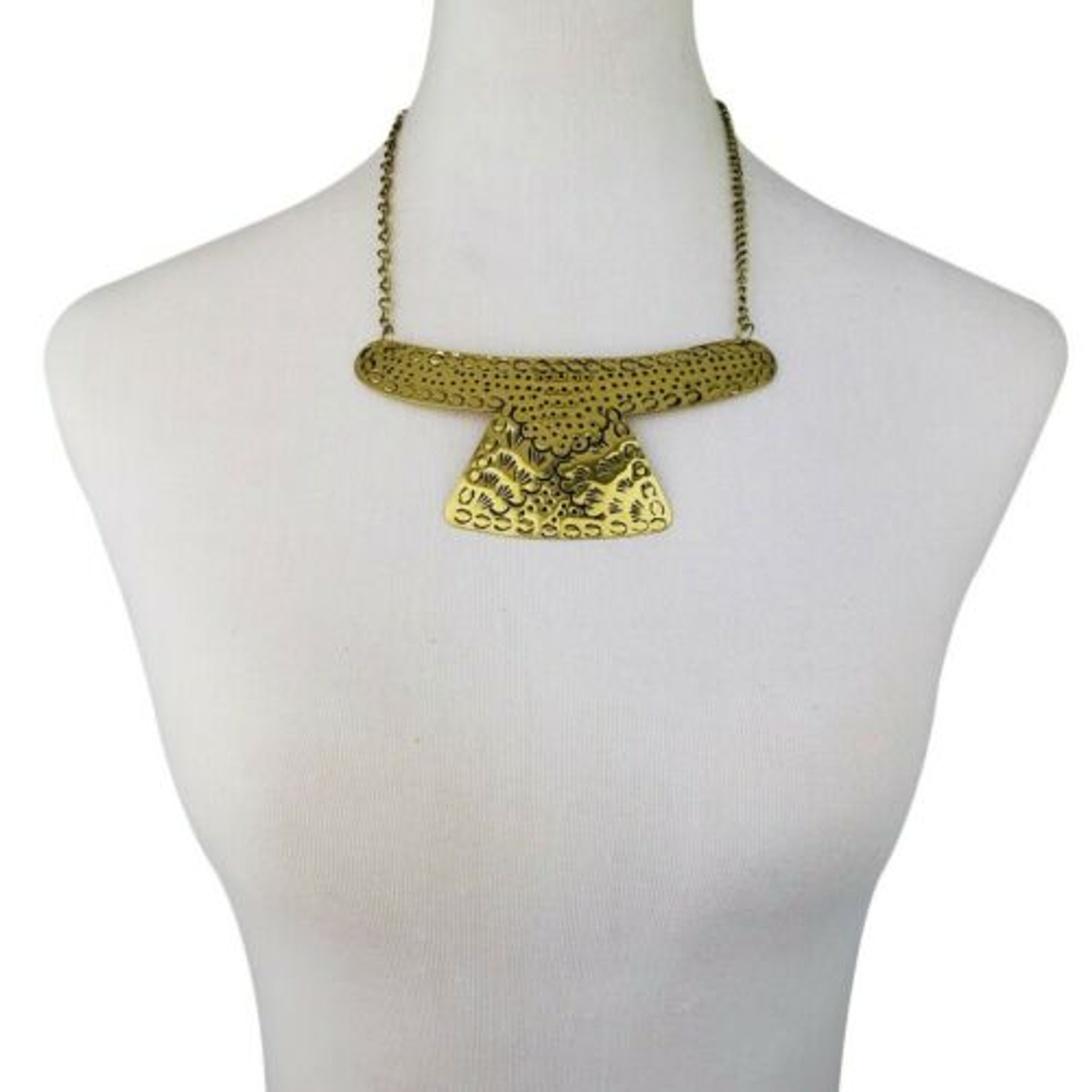 Brass Choker Necklace Set Gold Plated Cuff Boho Fashion Jewelry Floral Patina