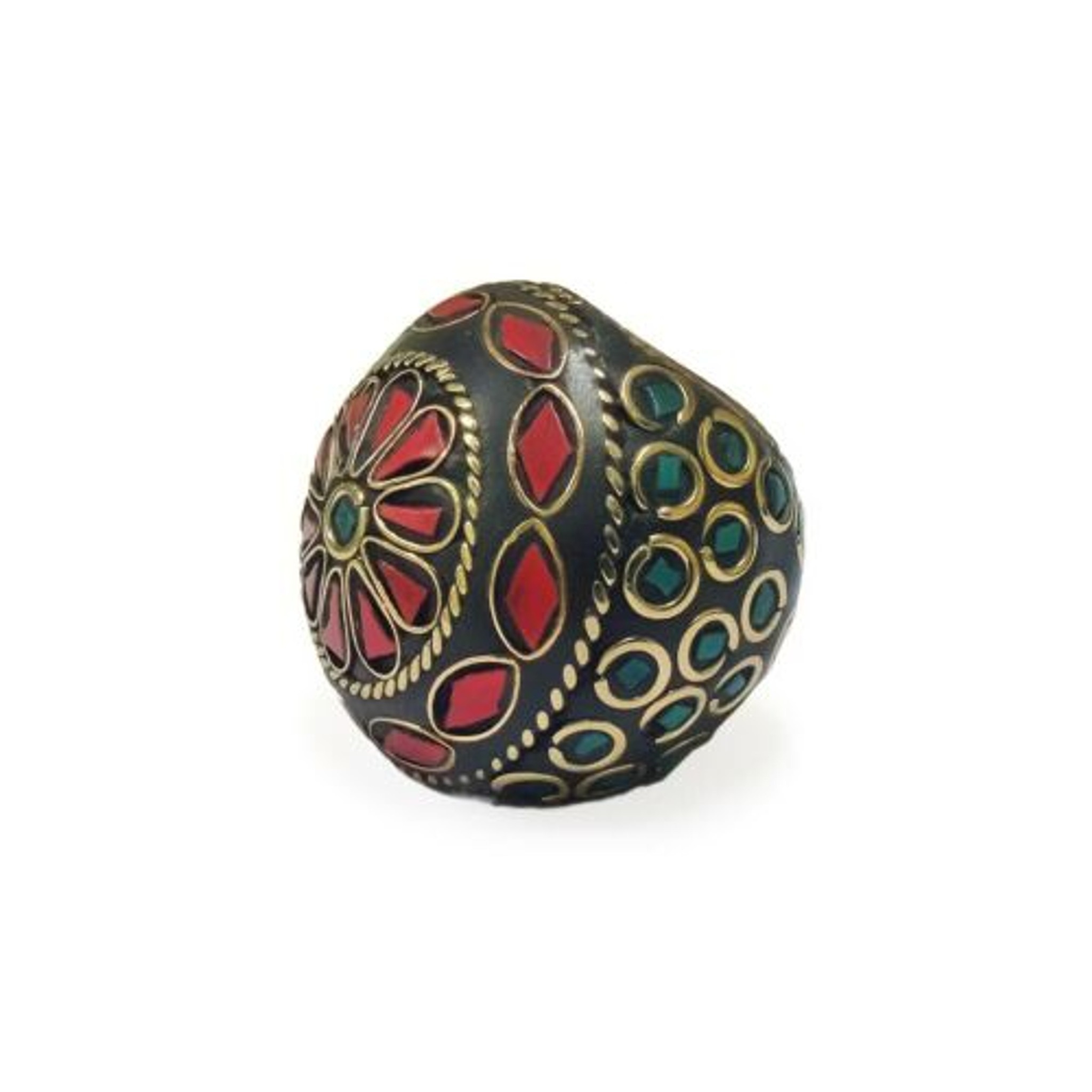 Adia Terracotta and Mosaic Ring with Coral Tone Chips