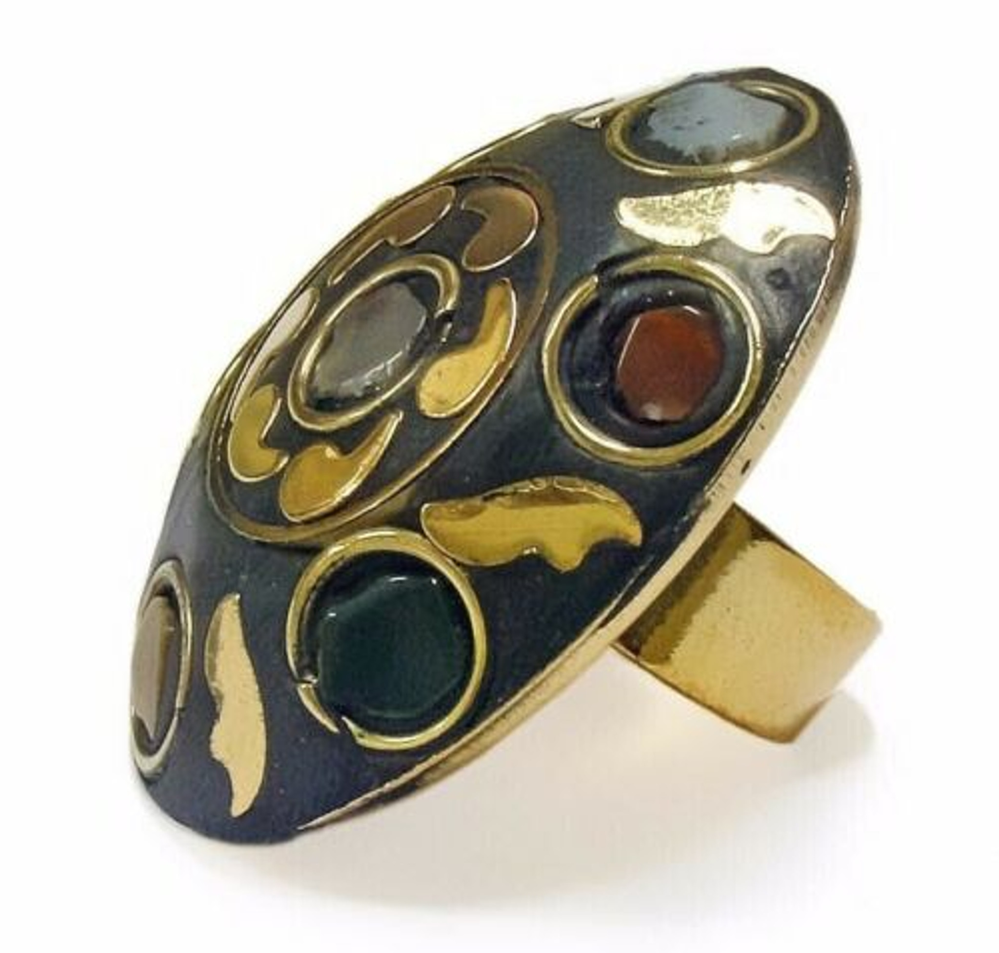 Adeleka Chunky Brass and Rough Agate Chips Ring