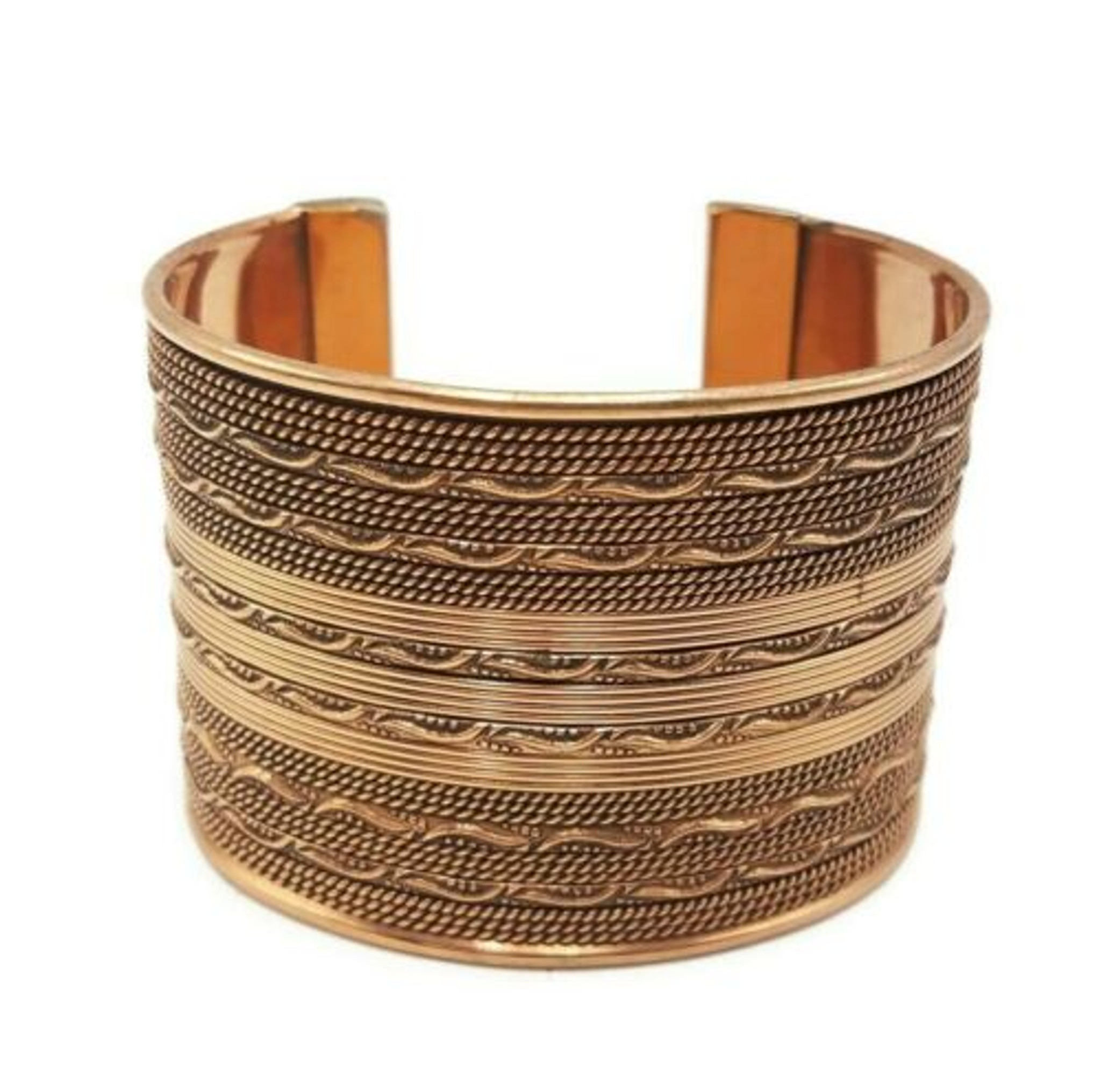 Chunky Copper Plated Cuff Bracelet with Copper Wire Design