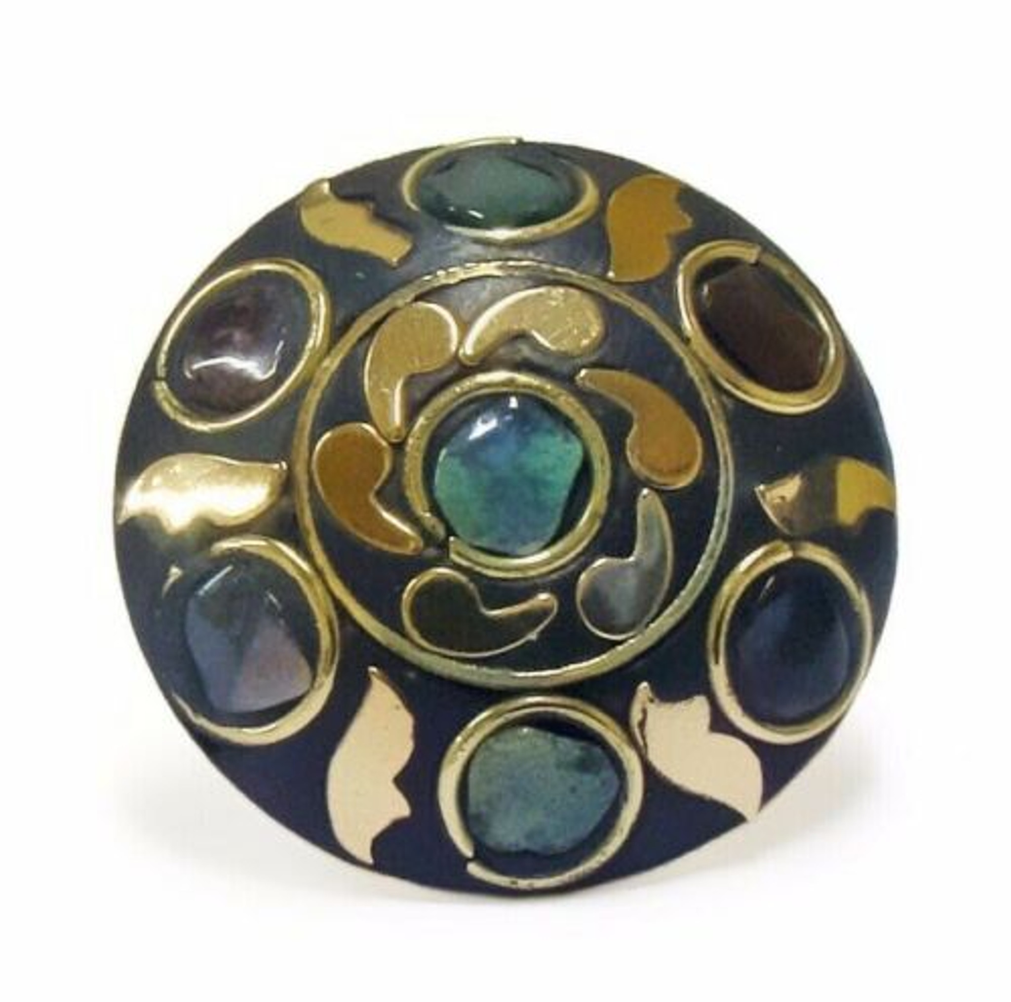 Terracotta and Mosaic Ring - Turquoise Tone Chips