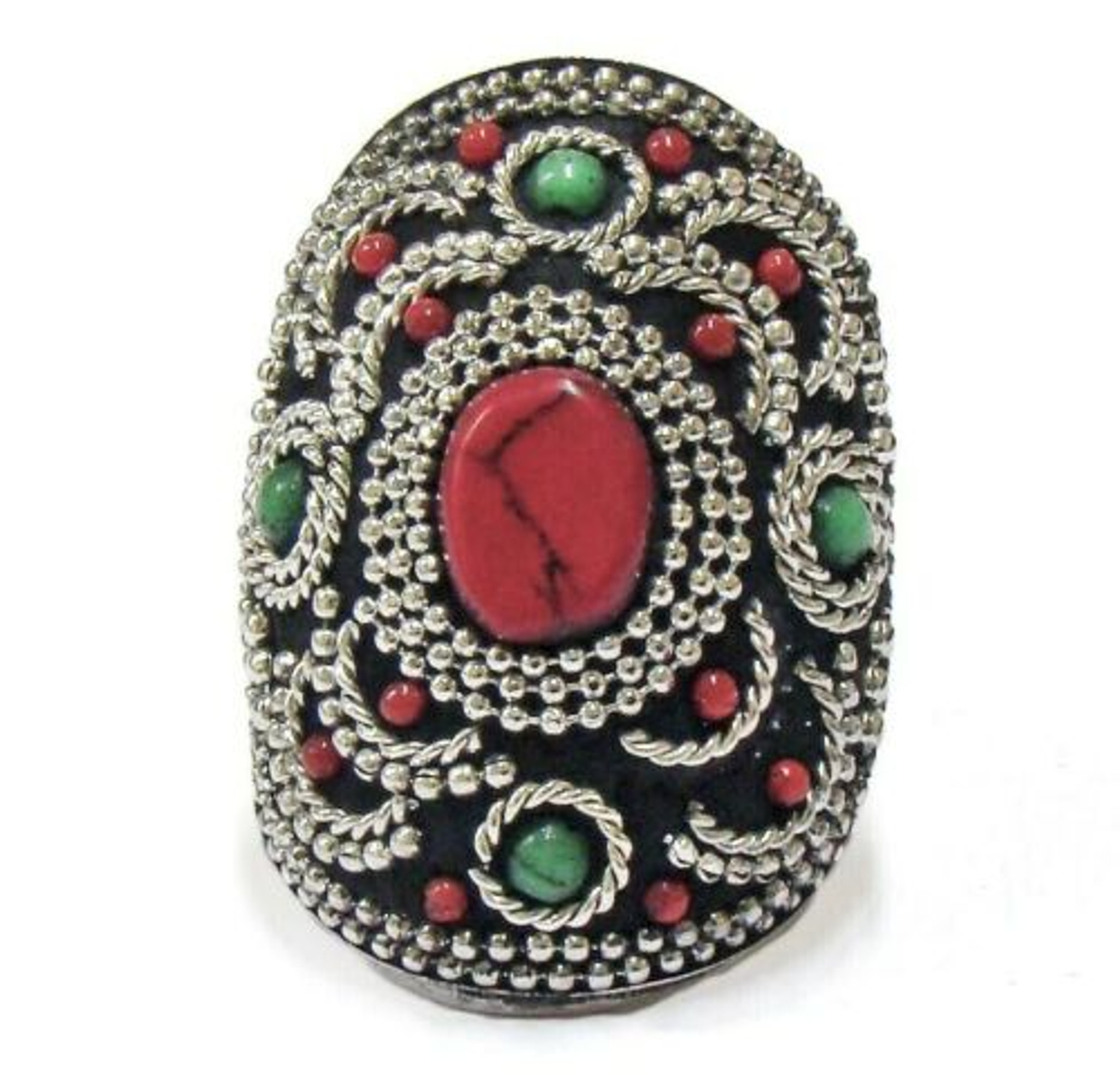 Adelaide Terracotta and Mosaic Ring with Cabochon Accent
