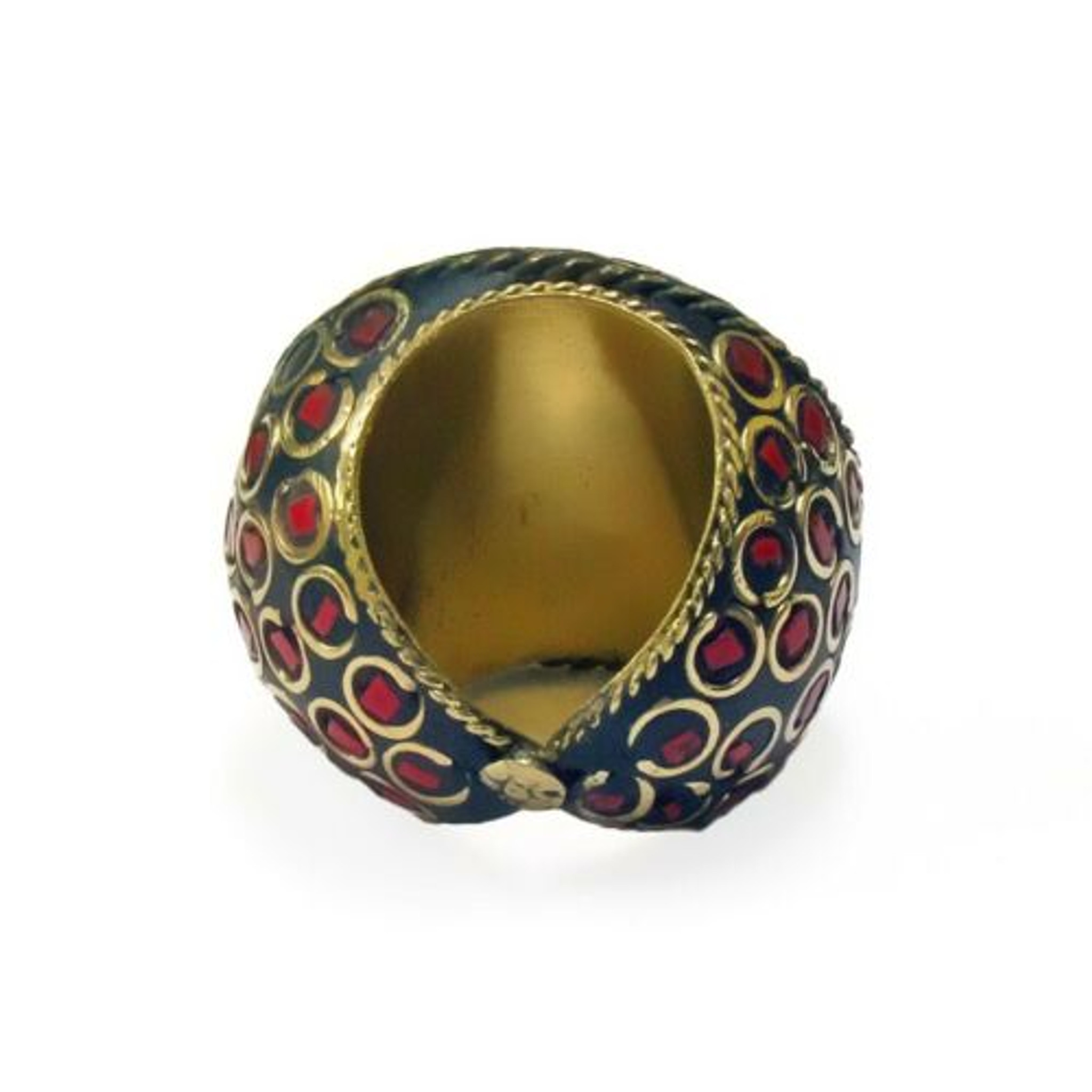 Ashanti Terracotta and Mosaic Sultani Ring - Green & Red