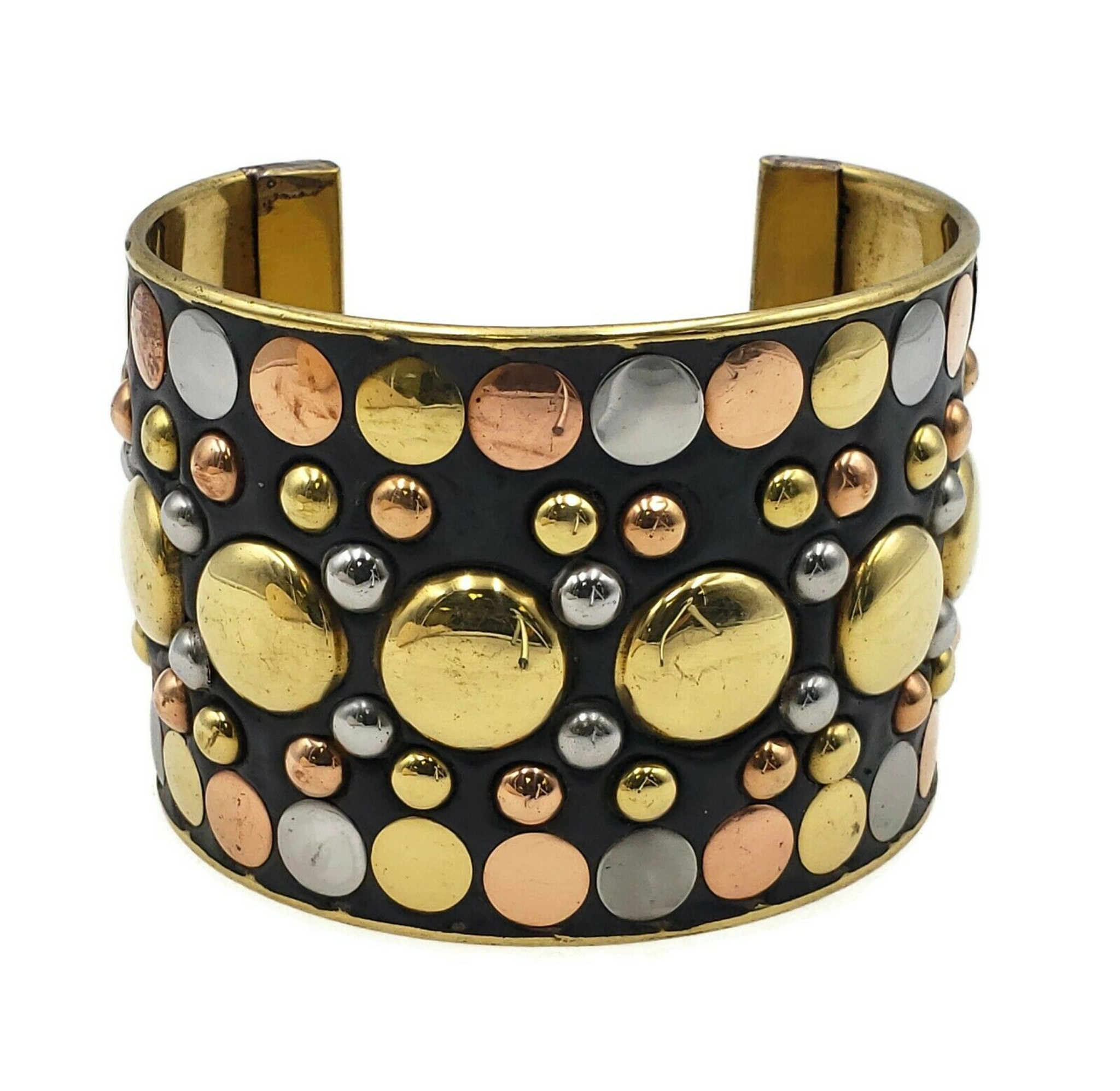 Enara Studded Three Tone Brass Cuff Bracelet